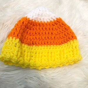 Other - Hand Knit Baby Candy Corn Halloween Hat 🎃